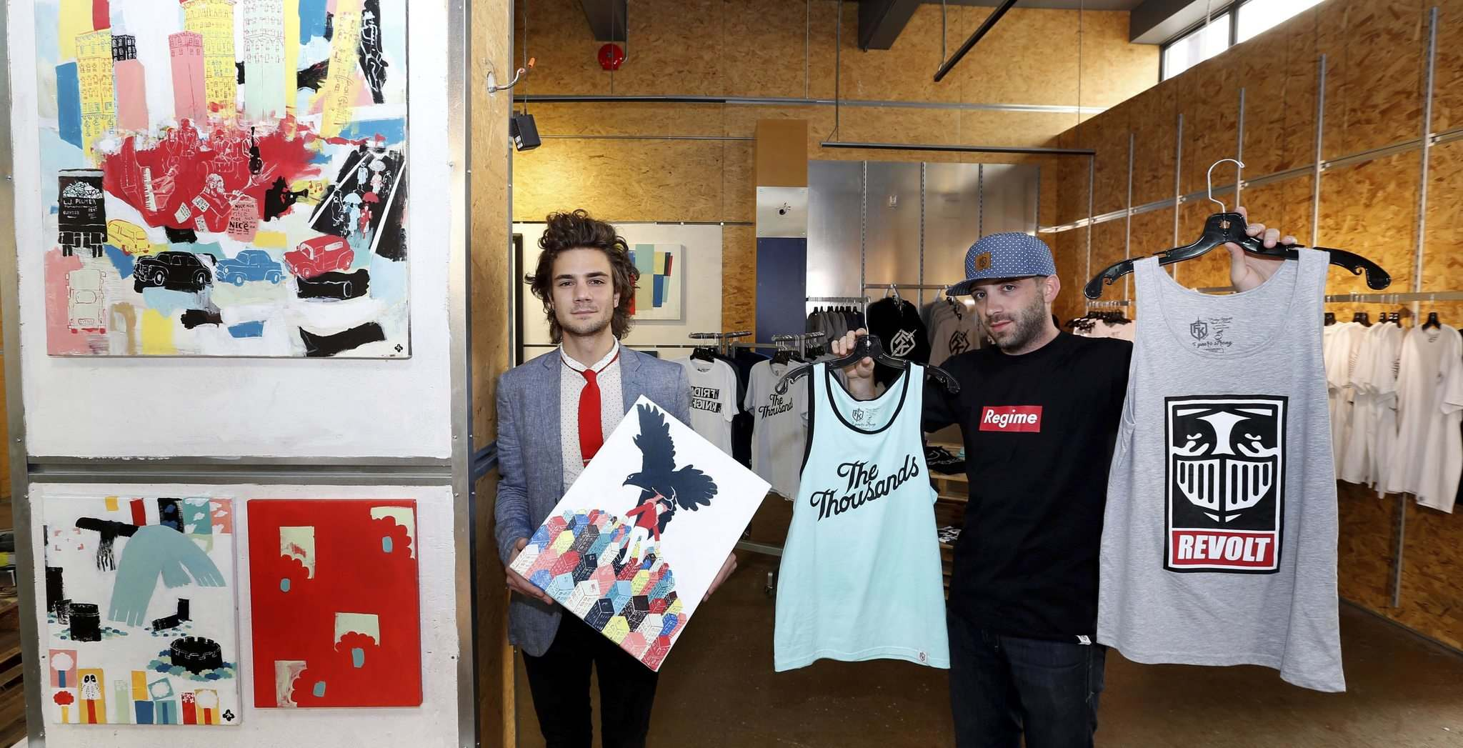 WAYNE GLOWACKI / WINNIPEG FREE PRESS</p><p>The Downtown Biz is launching its fourth annual Launch It! Retail Incubator and Pop Up program today. Artist Josiah Koppanyi (left) and clothier Eric Olek display some of their products.</p>