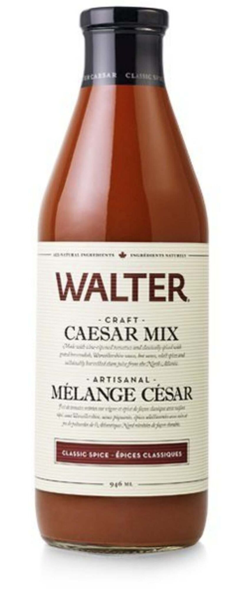 """<strong>Walter Craft Caesar Mix – Classic Spice</strong> (around $6-$7/946ml bottle)</p><p><strong>The skinny:</strong> This artisanal-style Caesar mix is made using vine-ripened tomatoes, grated horseradish and other natural ingredients, contains no artificial MSG added, is made in """"craft small batch production"""" and is Ocean Wise recommended (contains """"sustainably harvested clam juice from the North Atlantic""""). Comes in a """"Mild Spice"""" version as well. It's also half the size for nearly twice the price.</p><p><strong>On its own:</strong> The Walter is the thickest in appearance — it pretty much looks like tomato juice or gazpacho. Aromatically it brings tomato and almost a raw meat note on the nose, with fresh seafood and chopped bell pepper and herb notes in there as well. It's the richest on the palate, with tart tomato, celery salt, pepper and underlying, subtle clam flavours that are actually pleasant. Also features a Tabasco note and a long finish.</p><p><strong>In a Caesar:</strong> The tomato flavour is slightly more robust here than the others. It's got great texture, the clam component is subtle but not overpowered by spice, and green vegetable notes here are tasty.</p><p><strong>Overall impression:</strong> Worth a try for the texture alone, never mind the impressive array of balanced flavours. Not as salty as the Mott's or French's, for better or worse. Season accordingly.</p></p>"""