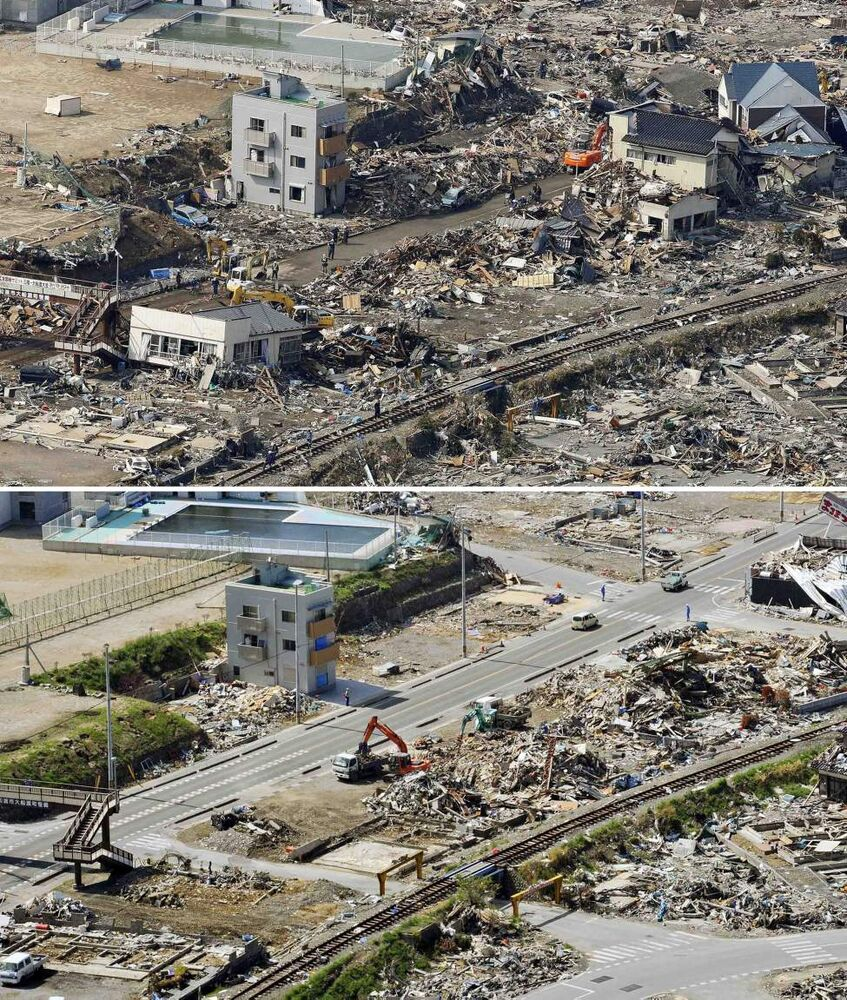 In this combo of two photos, debris are piled up by damaged buildings in Ofunato, Iwate prefecture, northeastern Japan, on March 13, 2011, days after the devastating earthquake and tsunami hit the area, top, and the same area, bottom, with several houses demolished as photographed on June 3, 2011. Japan marks three months since the March 11 earthquake and tsunami that struck the nation's eastern coast on Saturday, June 11, 2011. (AP Photo/Kyodo News)