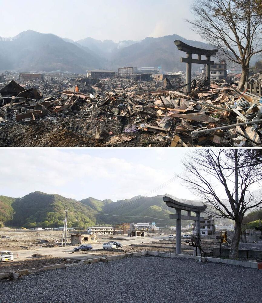 In this combo of two photos, a shinto torii, or gateway, leading to Kozuchi shrine stands among the debris in Otsuchi, Iwate prefecture, northeastern Japan, on March 14, 2011, days after the devastating earthquake and tsunami hit the area, top, and the same area, bottom, with the debris almost cleared as photographed on June 3, 2011. Japan marks three months since the March 11 earthquake and tsunami that struck the nation's eastern coast on Saturday, June 11, 2011. (AP Photo/Kyodo News)