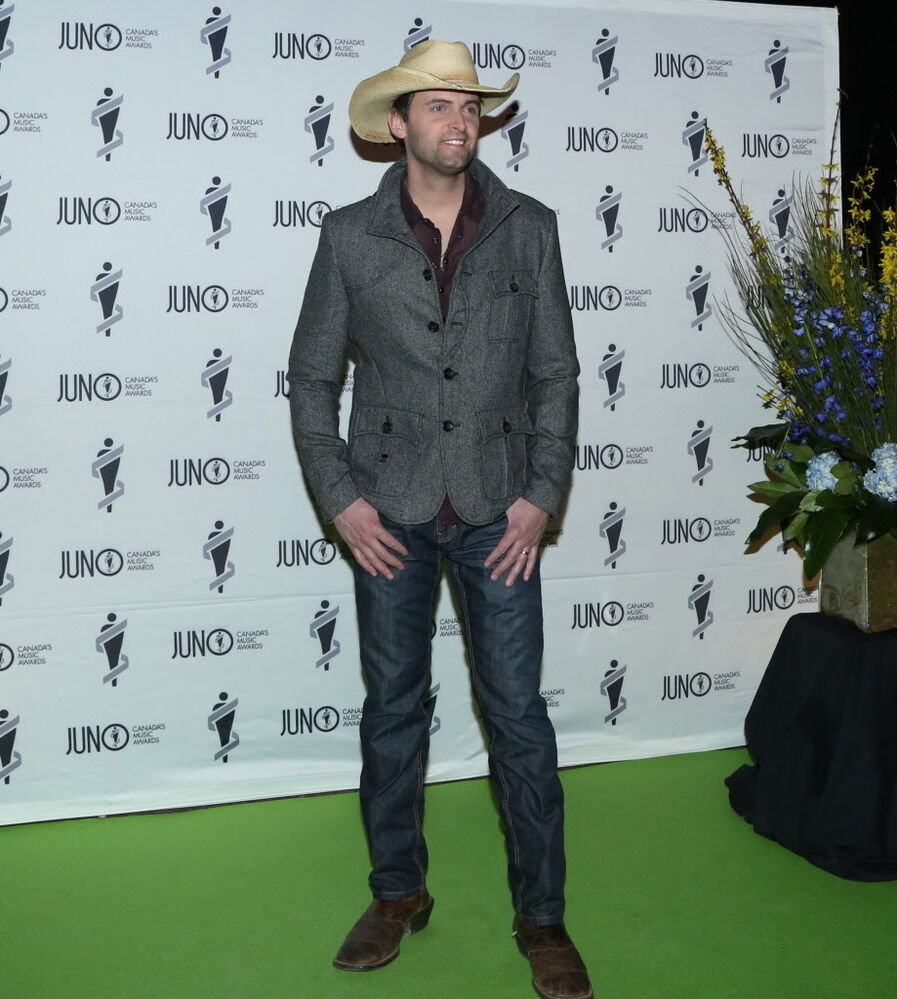 Dean Brody on the JUNO green carpet at the RBC Convention Centre.