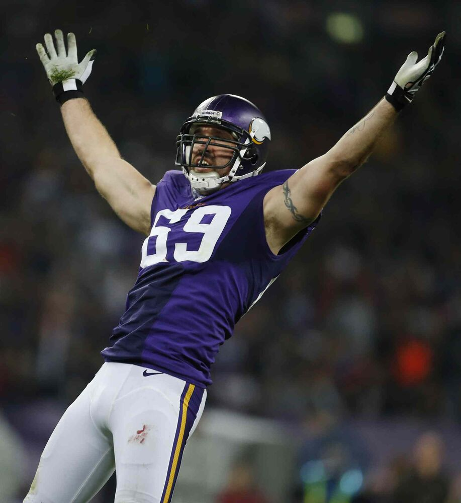 Minnesota Vikings defensive end Jared Allen celebrates after sacking Pittsburgh Steelers quarterback Ben Roethlisberger during the first half the Vikings' 34-27 triumph at Wembley Stadium, London, on Sunday.