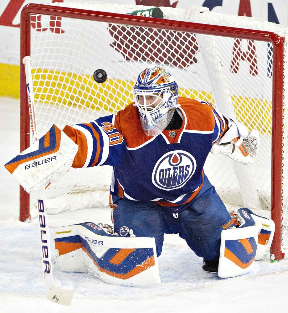 Devan Dubnyk is scored on by the Winnipeg Jets during the first period.
