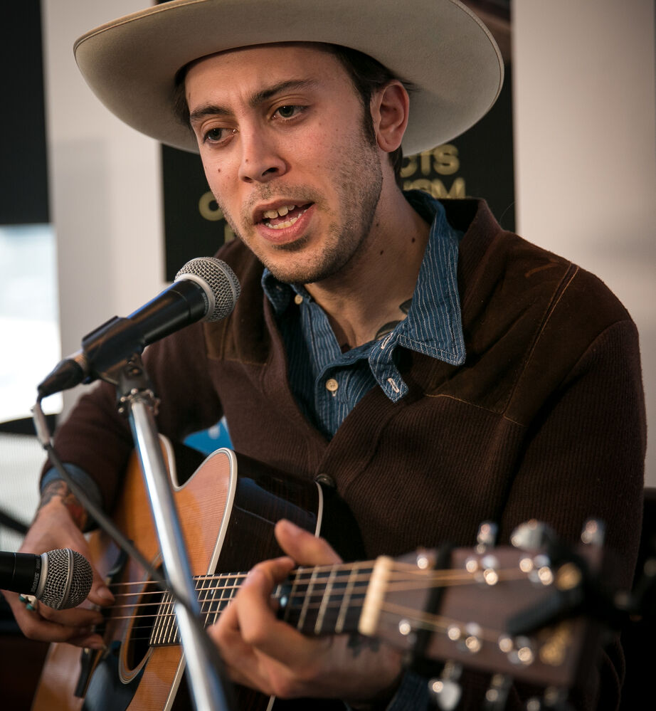 Juno nominee Daniel Romano performs at the Winnipeg Free Press News Café Friday afternoon. The singer-songwriter was nominated in the roots and traditional album of the year: solo category for his album Come Cry With Me.   (Melissa Tait / Winnipeg Free Press)