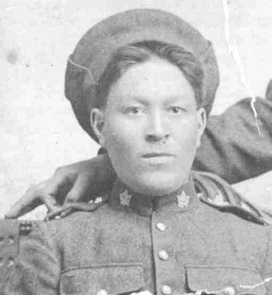 Pte. Kenneth McClure Asham, from Peguis (St. Peters Reserve), served in the 108th and 78th Battalions. He died in a bombing accident just prior to the Battle of Vimy Ridge.  (PHOTO COURTESY OF BILL SHEAD)