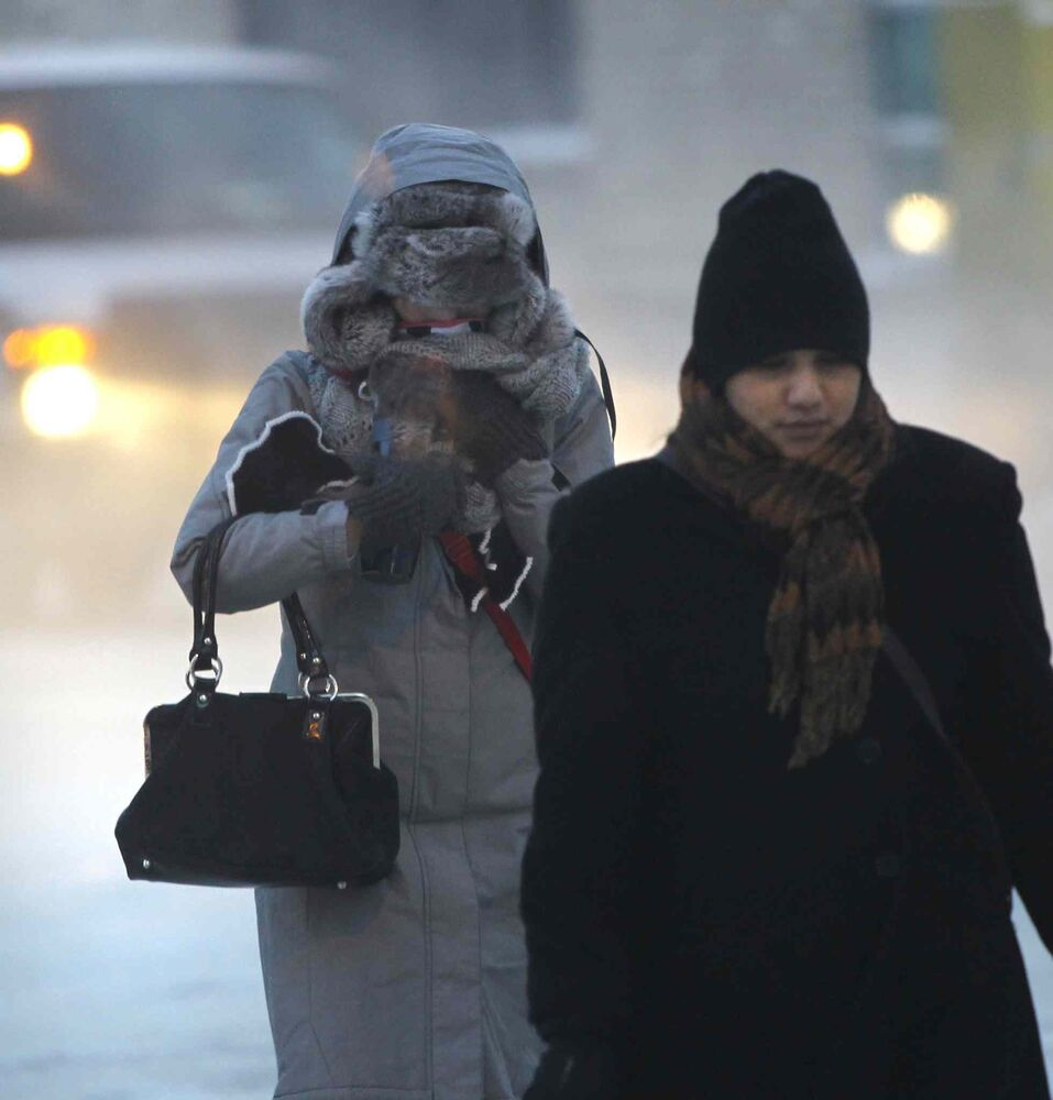 Frigid morning temperatures had pedestrians bundled up on Portage Ave.