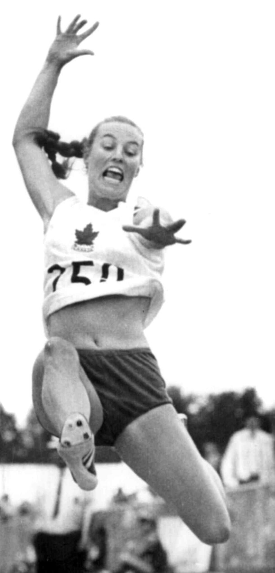 Toronto's Jenny Meldrum leaps to eighth place in the long jump. CP photo. (The Canadian Press Files)