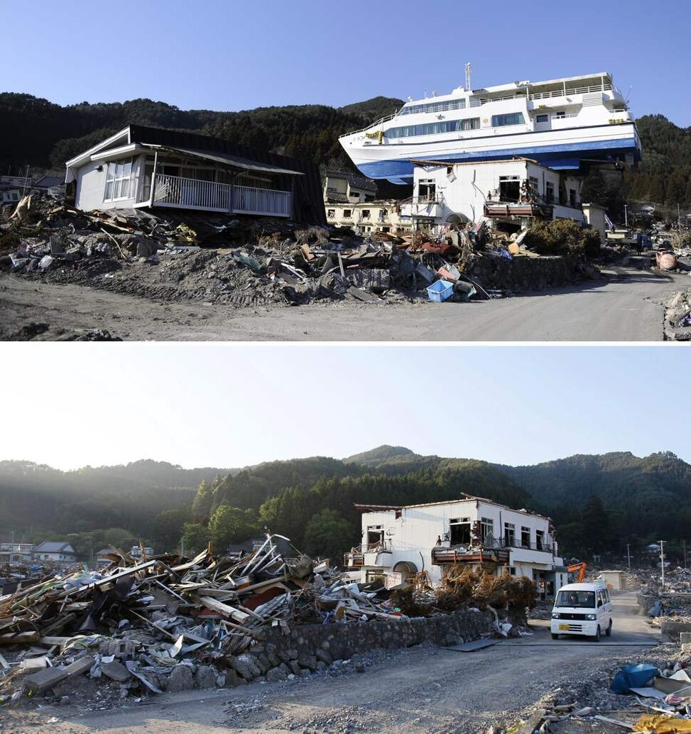 In this combo of two photos, a sightseeing boat sits on a building in Otsuchi, Iwate prefecture, northeastern Japan, on April 6, 2011, after the devastating earthquake and tsunami hit the area, top, and the same area, bottom, with the boat gone as photographed on June 3, 2011. Japan marks three months since the March 11 earthquake and tsunami that struck the nation's eastern coast, on Saturday, June 11, 2011. (AP Photo/Kyodo News)
