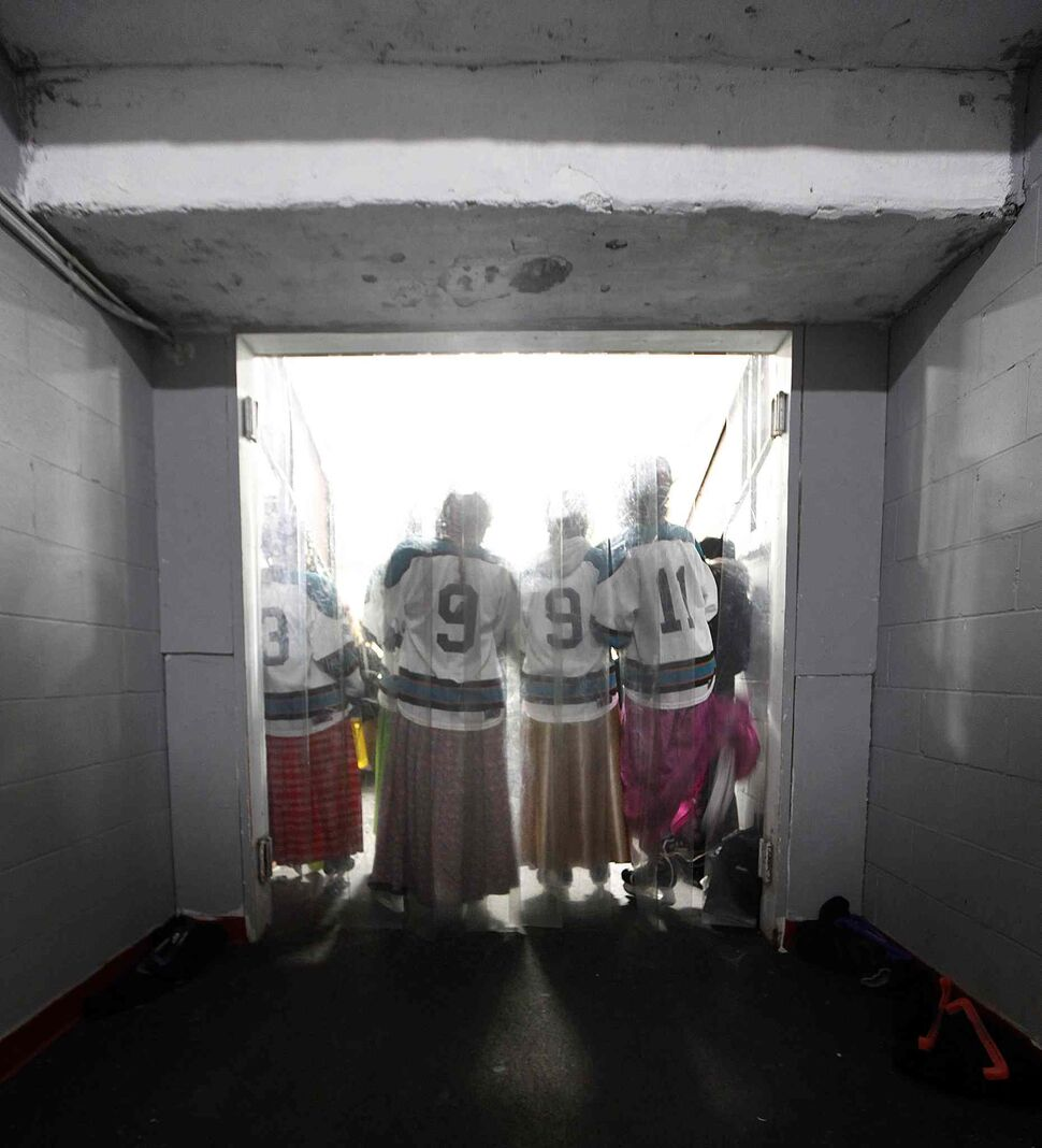 PHIL HOSSACK / WINNIPEG FREE PRESS</p><p>From left, Kaitlyn Waldner, Karissa Maendel and Ashley Maendel get their game faces on for their matchup against the MacGregor Iron Maidens.</p>