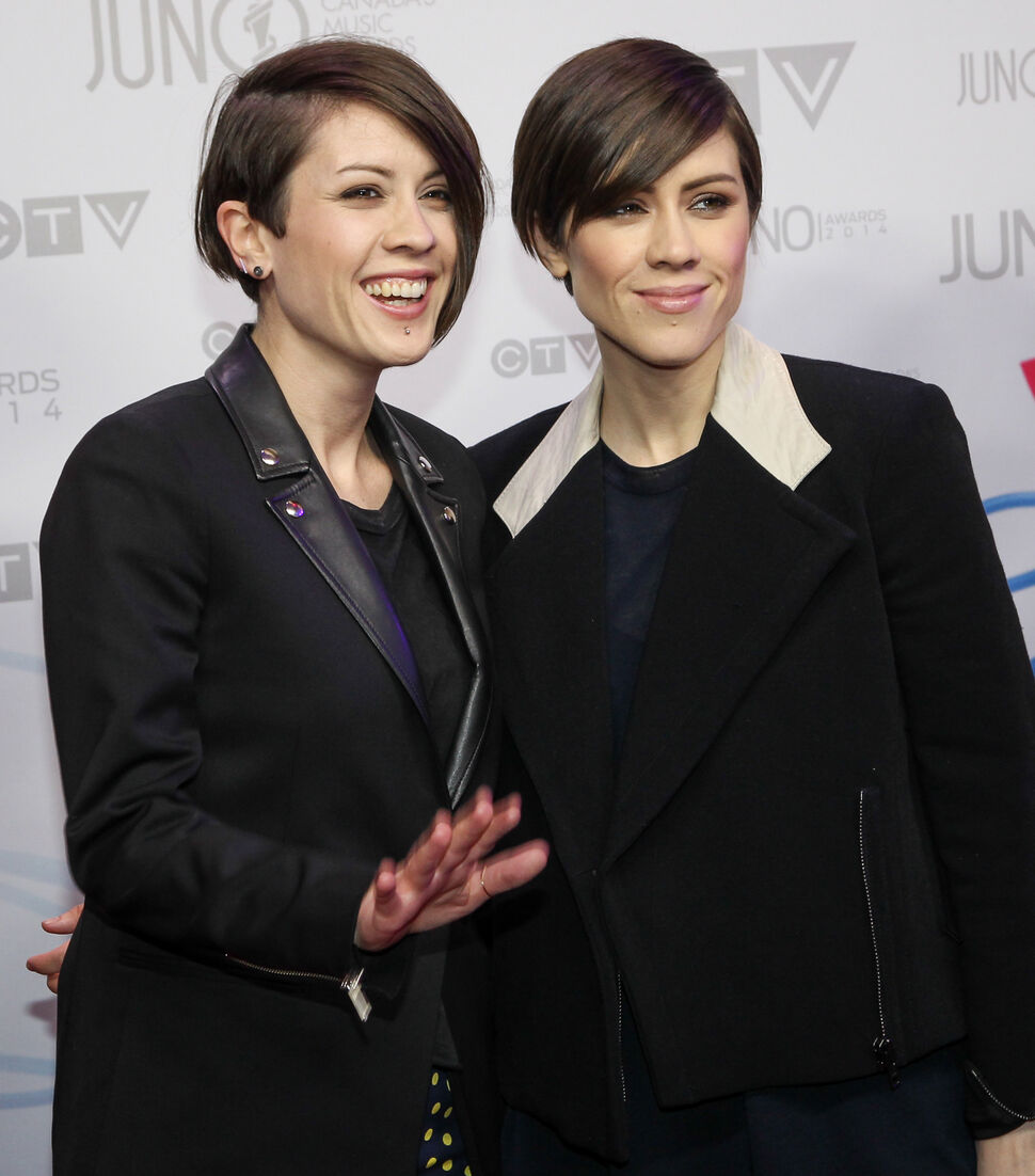 Tegan and Sara, winners of pop album of the year for Heartthrob, arrive on the red carpet at the 2014 Juno Awards in Winnipeg. The sister duo will also perform at the show at MTS Centre.