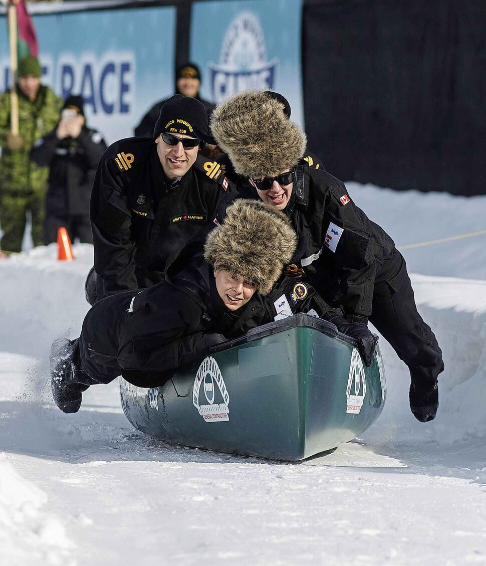 """MIKE DEAL / WINNIPEG FREE PRESS</p><p>The HMCS Winnipeg Hard Chargers easily beat the 16/17 Field Ambulance team Saturday afternoon, February 16, 2019 at Shaw Park. The Wild Winter Canoe Race is where teams of five """"kick-stroke"""" their canoes over a snow-packed course, raising money that will go towards the 'Sharing Together Partager Ensemble Fund,' a collaboration between the St. Amant and DASCH Foundations.</p>"""