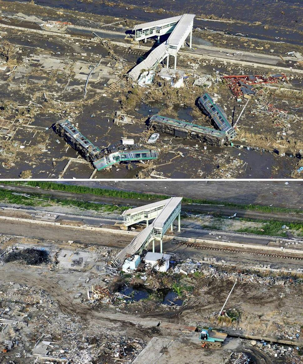 In this combo of two photos, two-car trains lie L-shaped after being swept away by tsunami at Shinchi Station only its railway bridge section left standing March 12, 2011, top, while a truck is parked near the bridge June 3, 2011 in Shinchi, Fukushima Prefecture, northeastern Japan. Japan marks three month since the March 11 earthquake and tsunami Saturday, June 11, 2011. (AP Photo/Kyodo News)