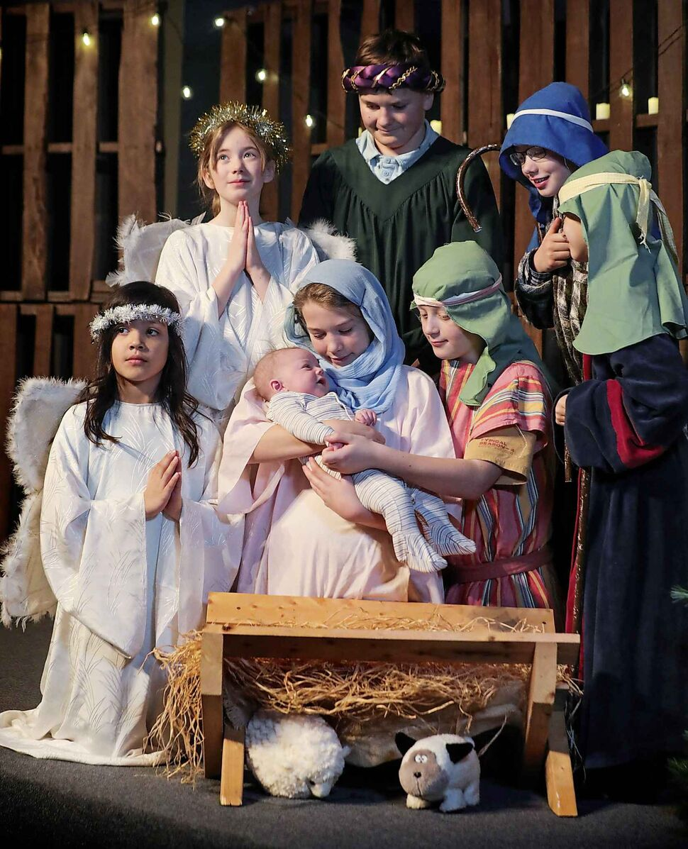 Willowlake Church youth perform a nativity scene drama during their Christmas celebration and brunch on Dec. 14. (Ruth Bonneville / Winnipeg Free Press)