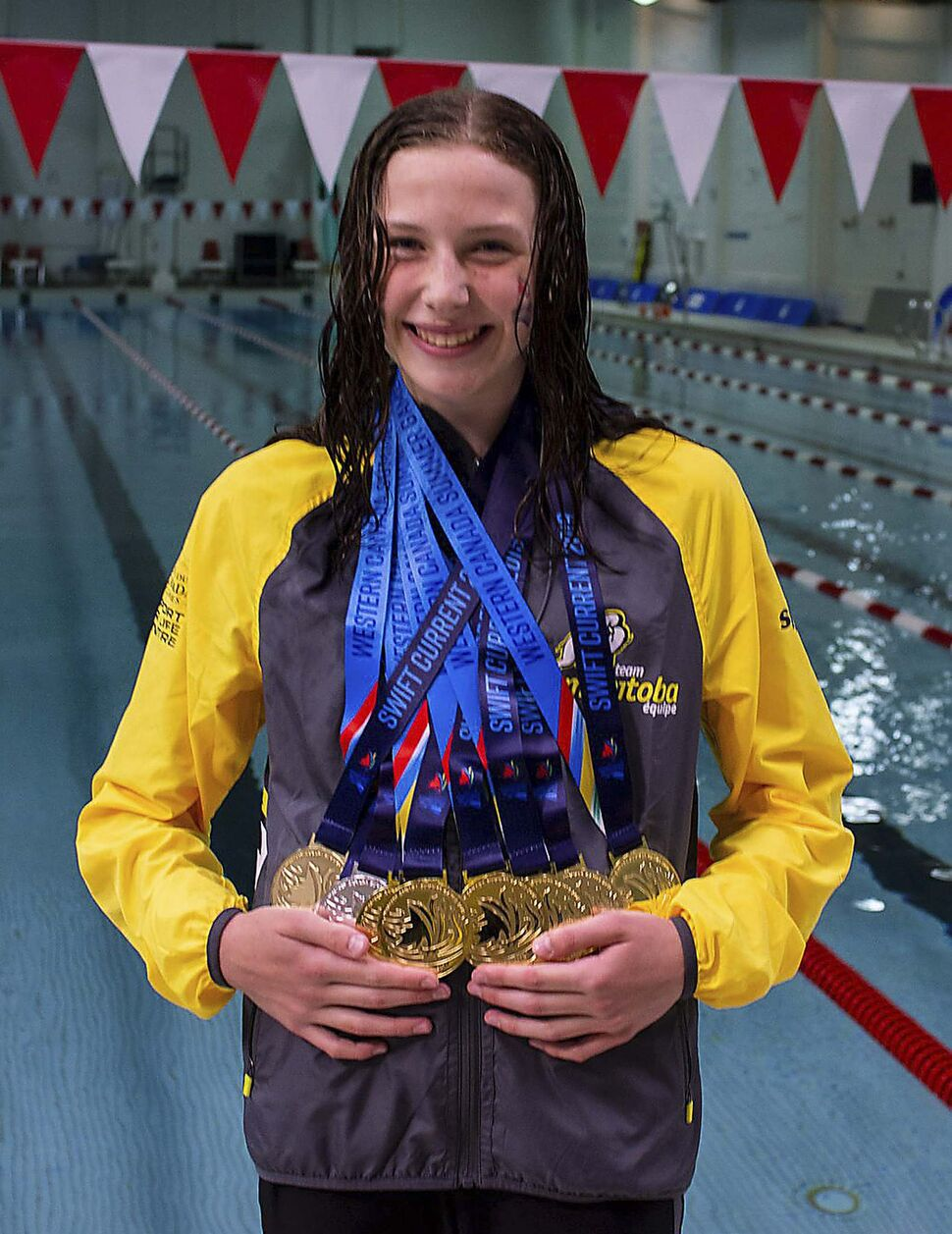 Team Manitoba swimmer Mia West with her medals at the 2019 Western Canada Summer Games.