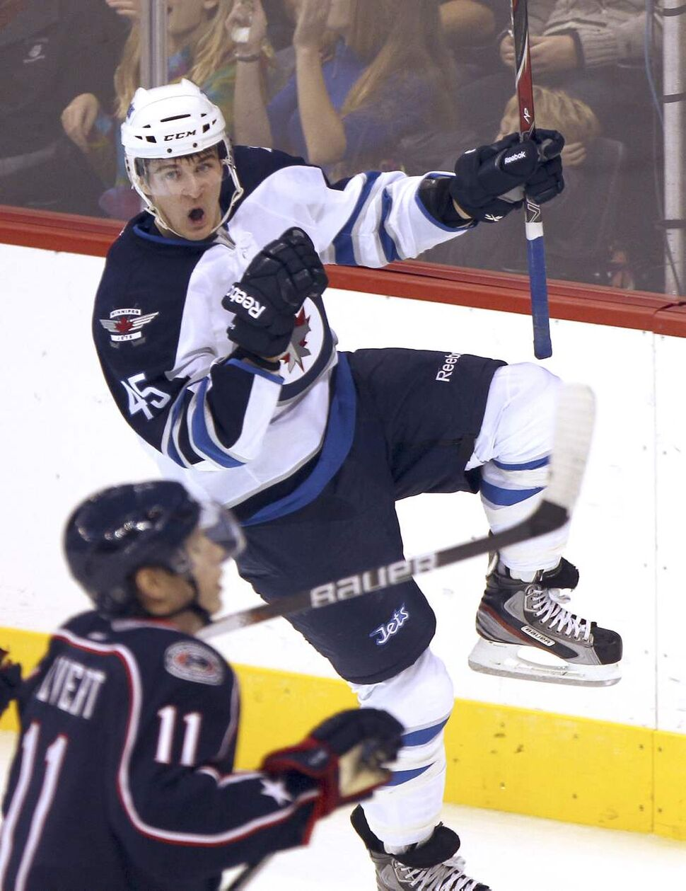 Winnipeg Jets Mark Scheifele celebrates his first period goal against the Columbus Blue Jackets during NHL pre-season action Tuesday night in Winnipeg. Sept 20, 2011   (JOE BRYKSA / WINNIPEG FREE PRESS)