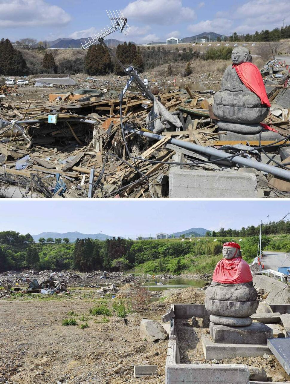 In this combo of two photos, a TV antenna leans near a stone statue of the guardian deity of children sitting among the debris in Ishinomaki, Miyagi prefecture, northeastern Japan, on March 24, 2011, days after the devastating earthquake and tsunami hit the area, top, and the same area, bottom, with the debris cleared and the statue wearing a new red cap as photographed on June 4, 2011. Japan marks three months since the March 11 earthquake and tsunami that struck the nation's eastern coast on Saturday, June 11, 2011. (AP Photo/Kyodo News)