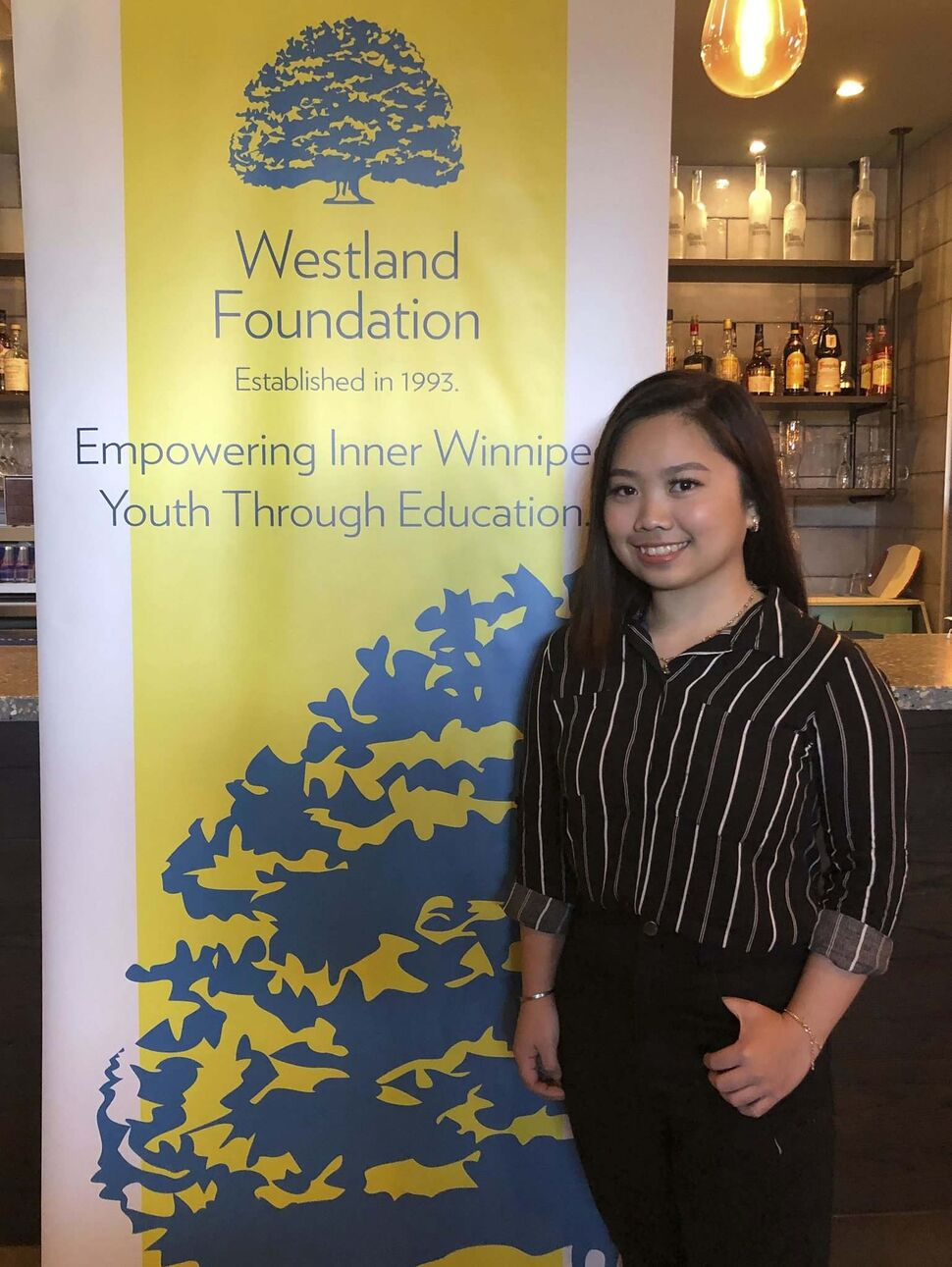 Carmela Mayoralgo, a second-year Culinary Arts student at Red River College and the first-ever Westland-Carbone Scholar, at the Westland-Carbone Scholarship awarding event on Nov. 6, 2019 at Carbone Coal Fired Pizza in St. Vital. (Submitted, Inna Borysevych / Westland Foundation)
