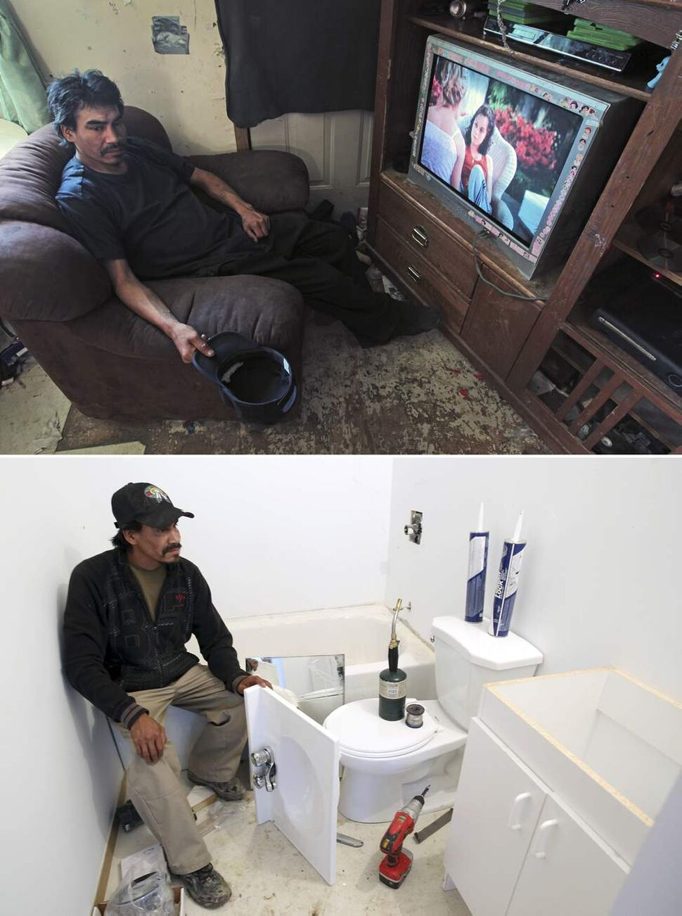 July 2010 - Geordie Rae Jr. takes a break in the family home in St.Theresa Point First Nation after hauling water by foot to his family's home.   August 2011 - Geordie Rae Jr. takes a break while renovating his new bathroom with running water.   (JOE BRYKSA / WINNIPEG FREE PRESS)
