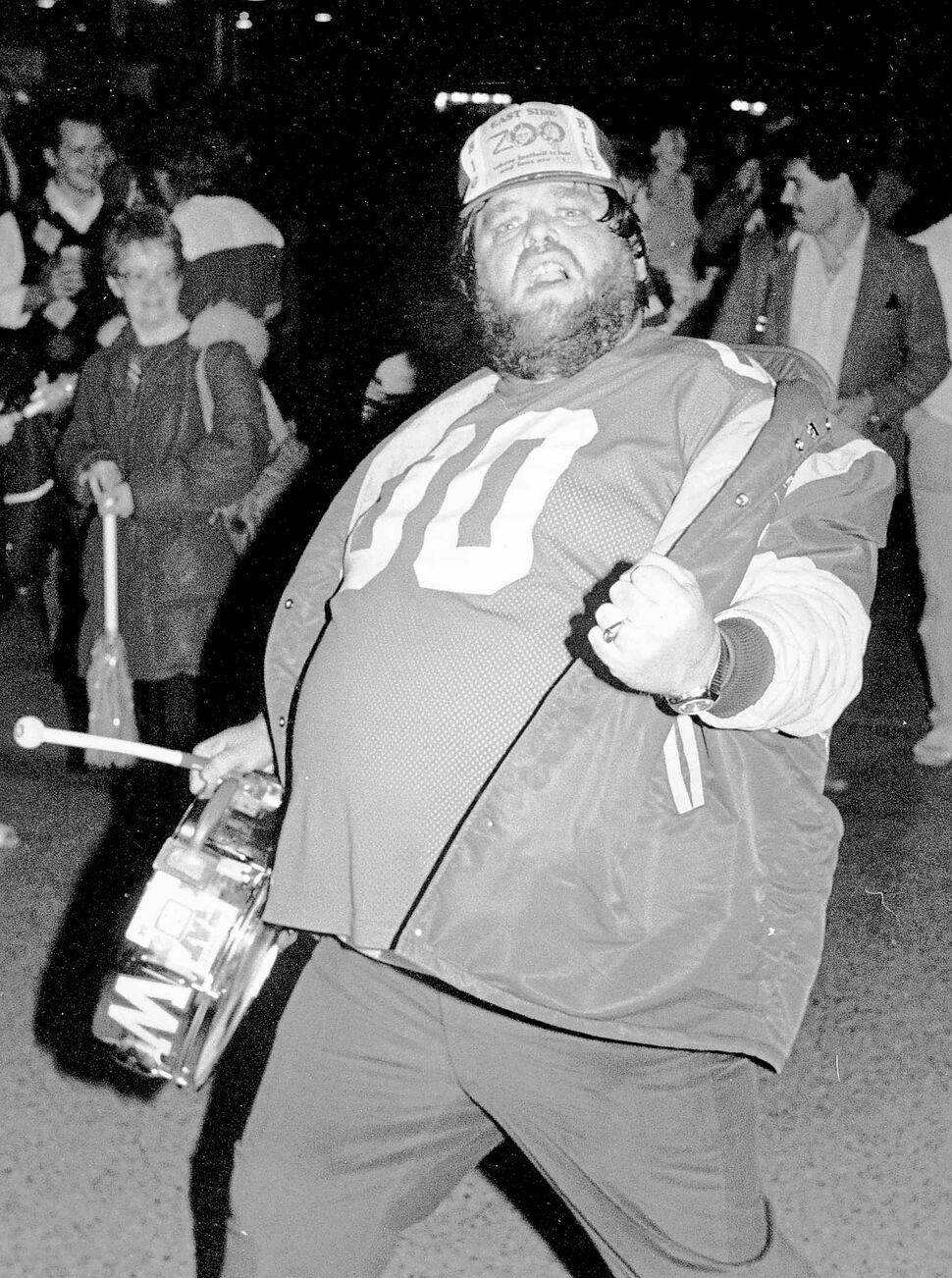 Jack Skelley at a pep rally for the Bombers in 1984. The Blue Bombers defeated the Tiger-Cats in a 47–17 victory. (KEN GIGLIOTTI / WINNIPEG FREE PRESS ARCHIVES)
