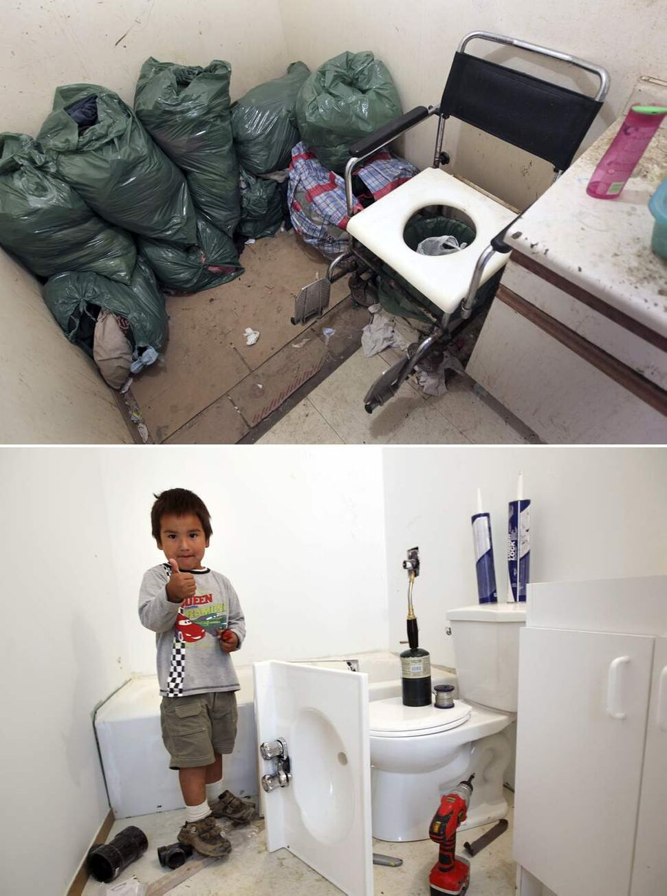 July 2010 - The  family  bathroom in the Harper home in St.Theresa Point First Nation, consisted of a slop pail and bags of dirty laundry.   August 2011 - Lucas Rae, 3,  gives the thumbs up for his new bathroom being renovating with running water.   (JOE BRYKSA/WINNIPEG FREE PRESS)