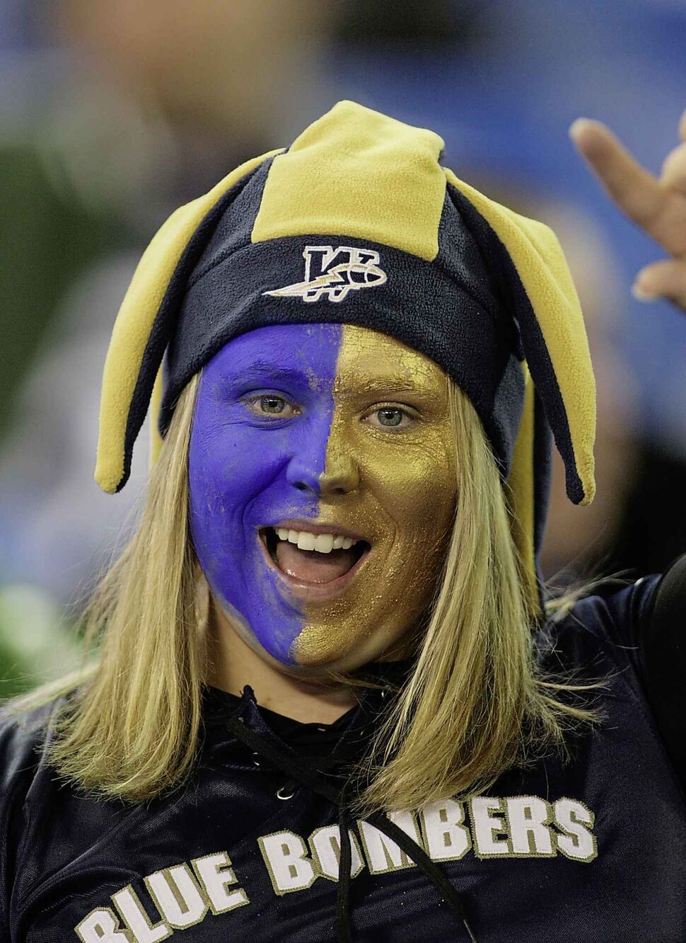 A Winnipeg Blue Bombers fan shows her support for the team prior to the 95th Grey Cup game against the Saskatchewan Roughriders in 2007. Winnipeg lost 23-19. (THE CANADIAN PRESS FILES)