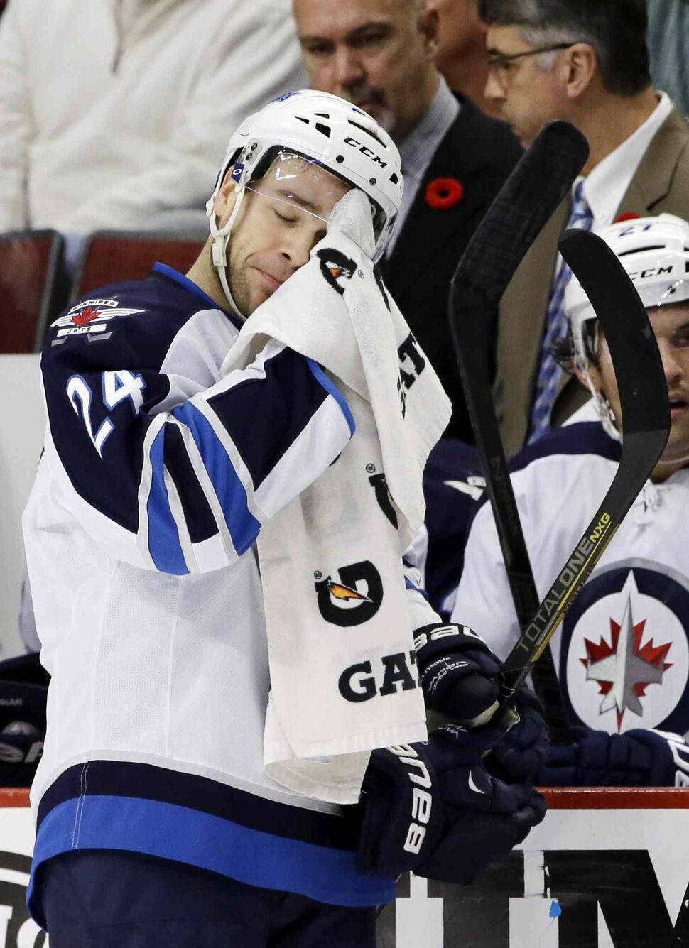 Grant Clitsome catches his breath during the first period. (Nam Y. Huh / The Associated Press)
