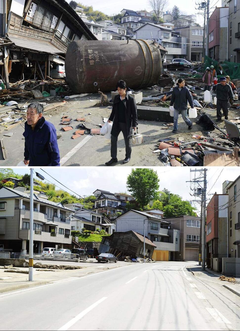 In this combo of two photos, tsunami survivors walk with plastic containers and kettles to carry drinking water through a street blocked by a fallen tank and other debris March 14, 2011, top, and only one damaged house, center, stands along the same street June 3, 2011 in Kesennuma, Miyagi Prefecture, northeastern Japan. Japan marks three month since the March 11 earthquake and tsunami Saturday, June 11, 2011. (AP Photo/Kyodo News)