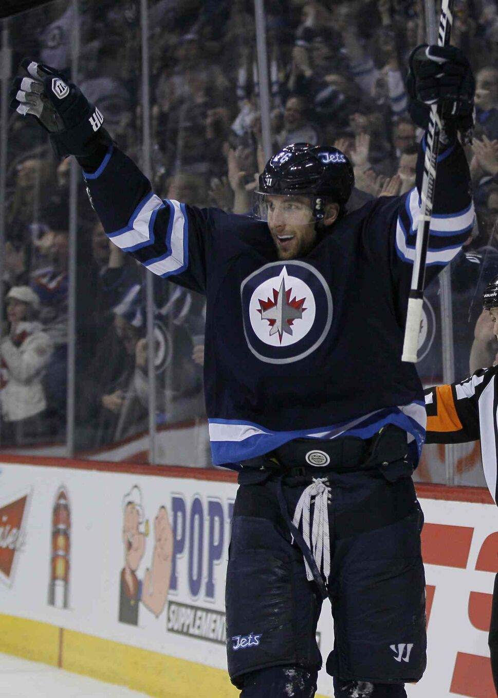 Winnipeg Jets' Blake Wheeler's (26) celebrates his goal against the Nashville Predators during second period NHL action in Winnipeg on Tuesday. (WINNIPEG FREE PRESS)