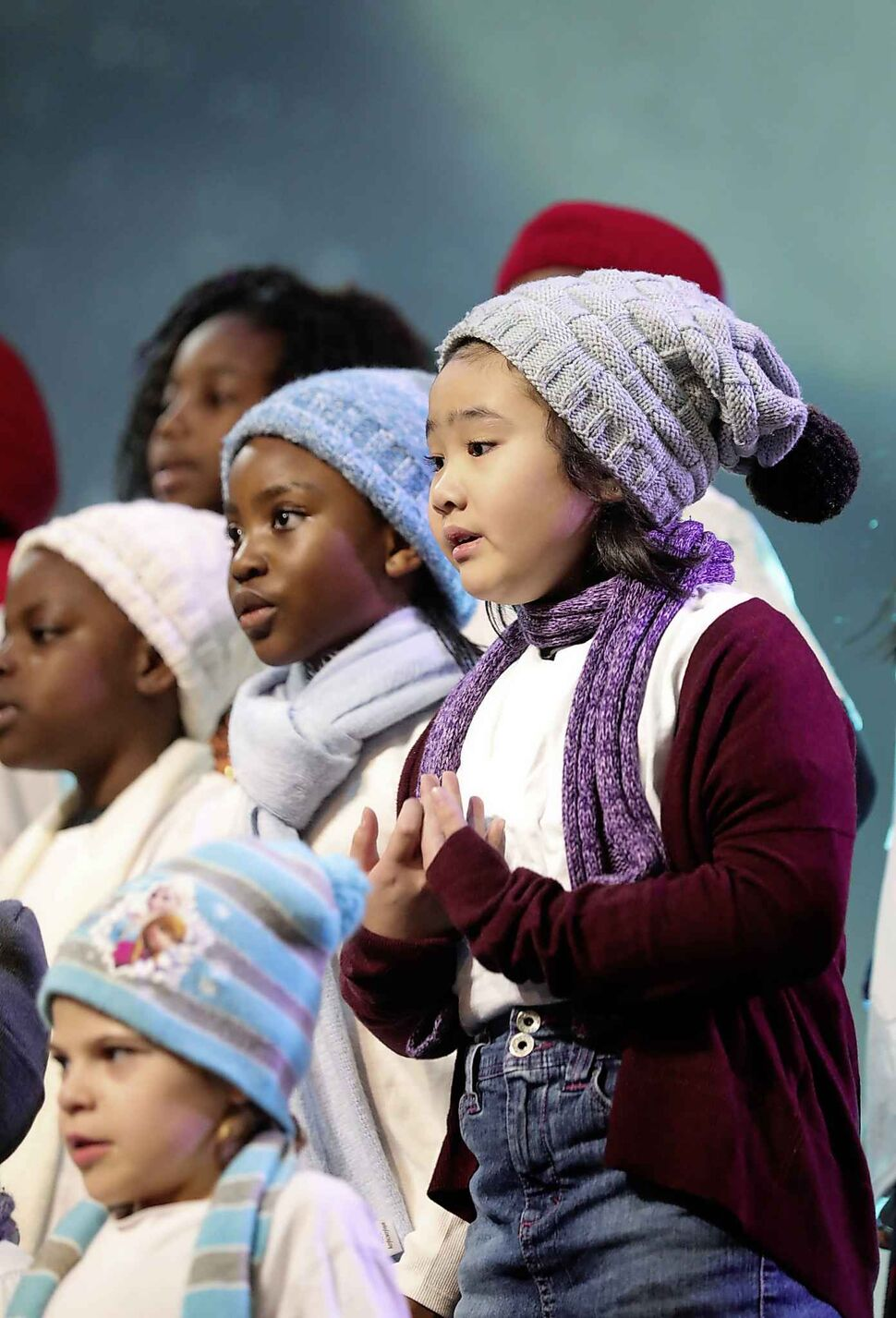 Springs Church kids choir perform on stage for their special Christmas production every Sunday throughout December. (Ruth Bonneville / Winnipeg Free Press)