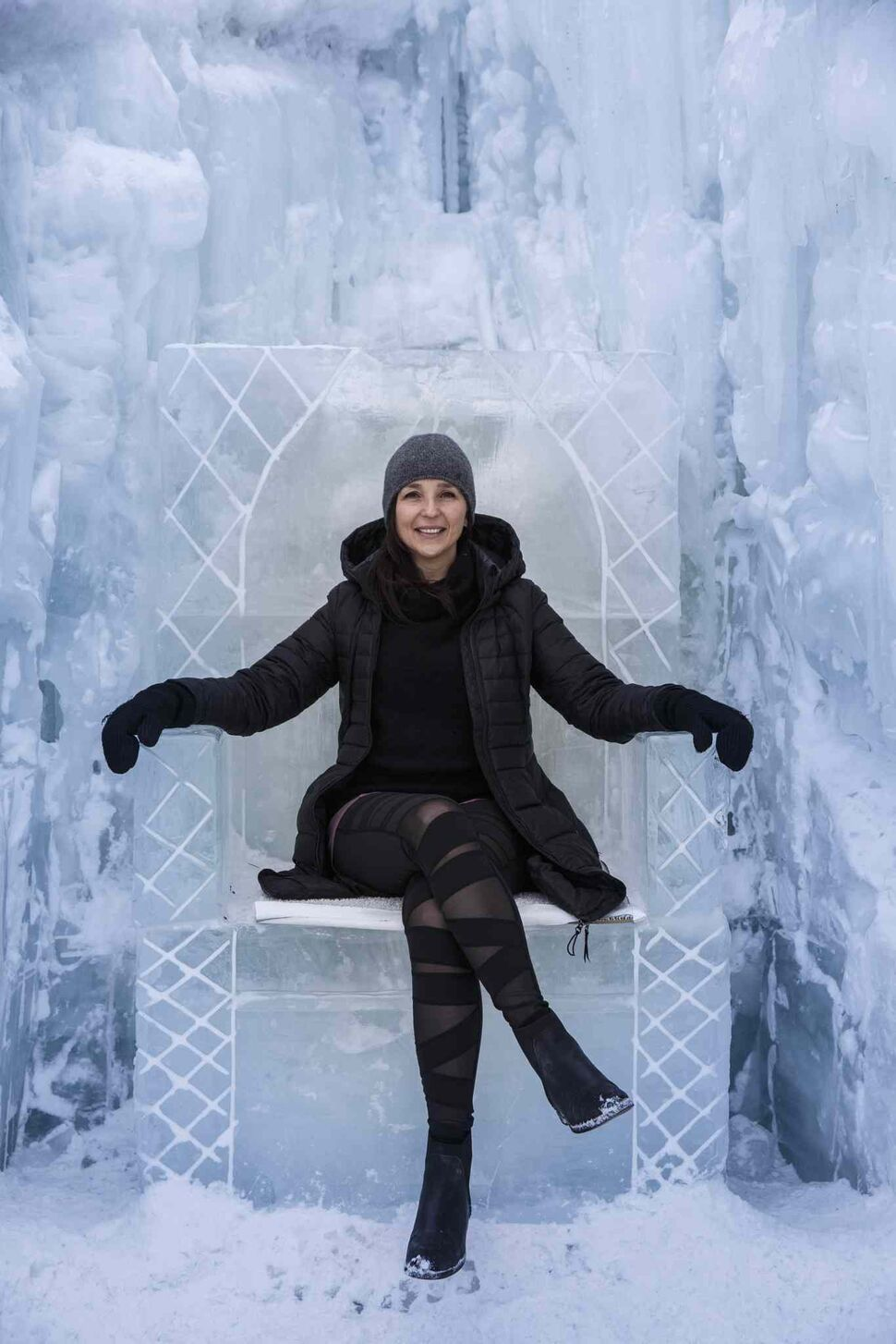 MIKE DEAL / WINNIPEG FREE PRESS</p><p>Artist Kal Barteski looks regal on a throne made of ice at The Forks, Saturday, March 3, 2018. Barteski helped organize a yoga class which was held at the Ice Castles at The Forks to raise money for The Polar Bear Fund.</p>