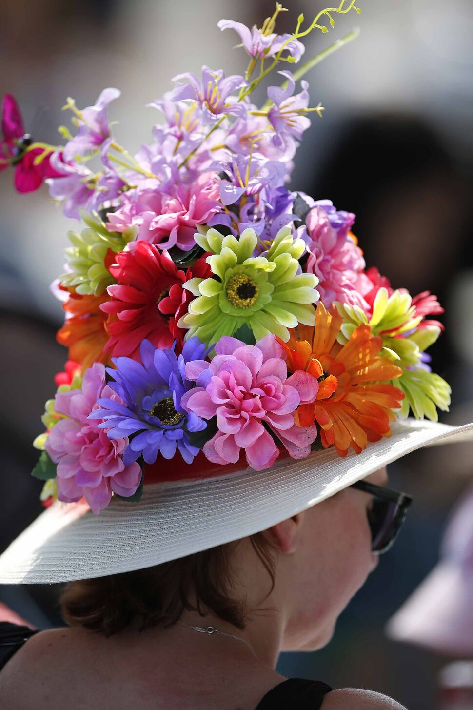 A tall floral hat.