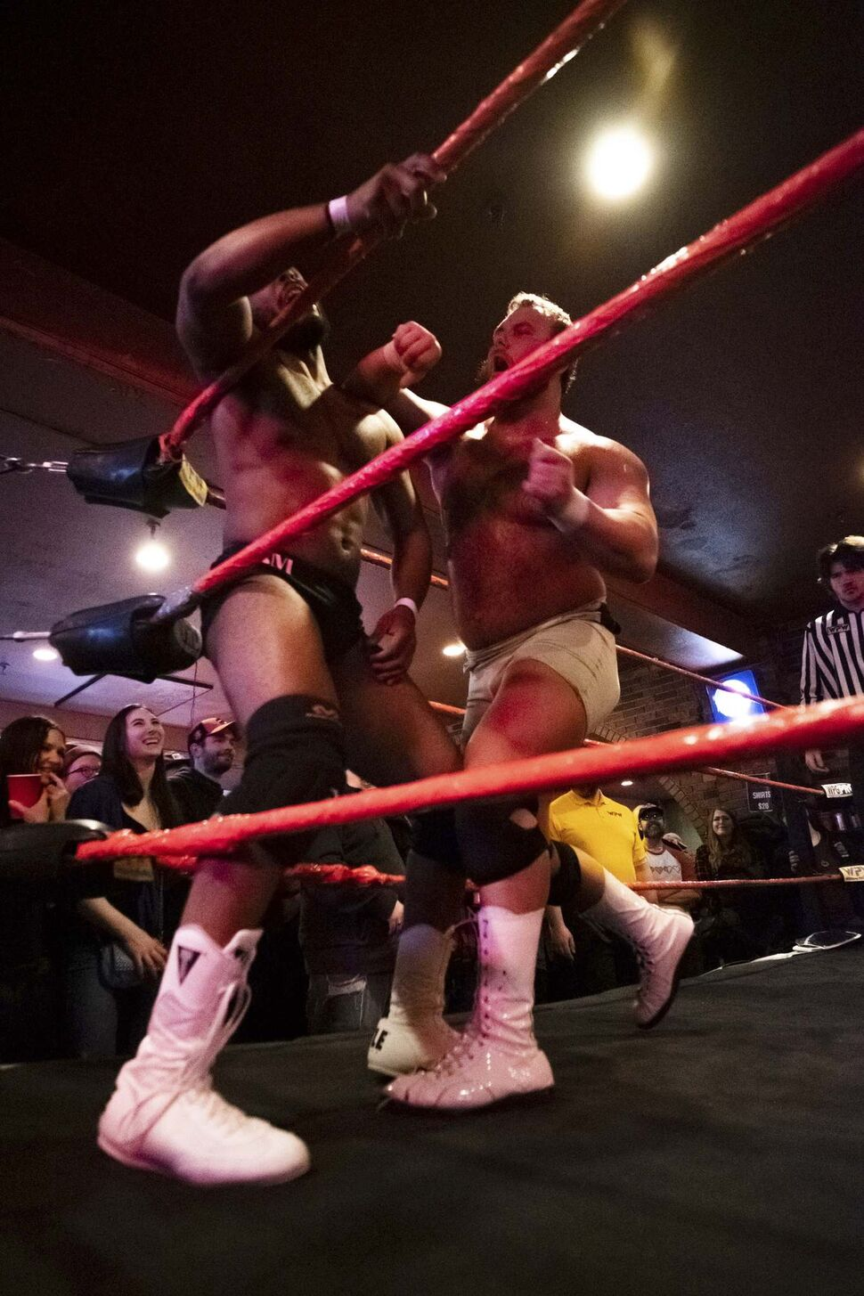 Shaun Moore takes a punch from Danny (The Perfect One) Duggan.</p>