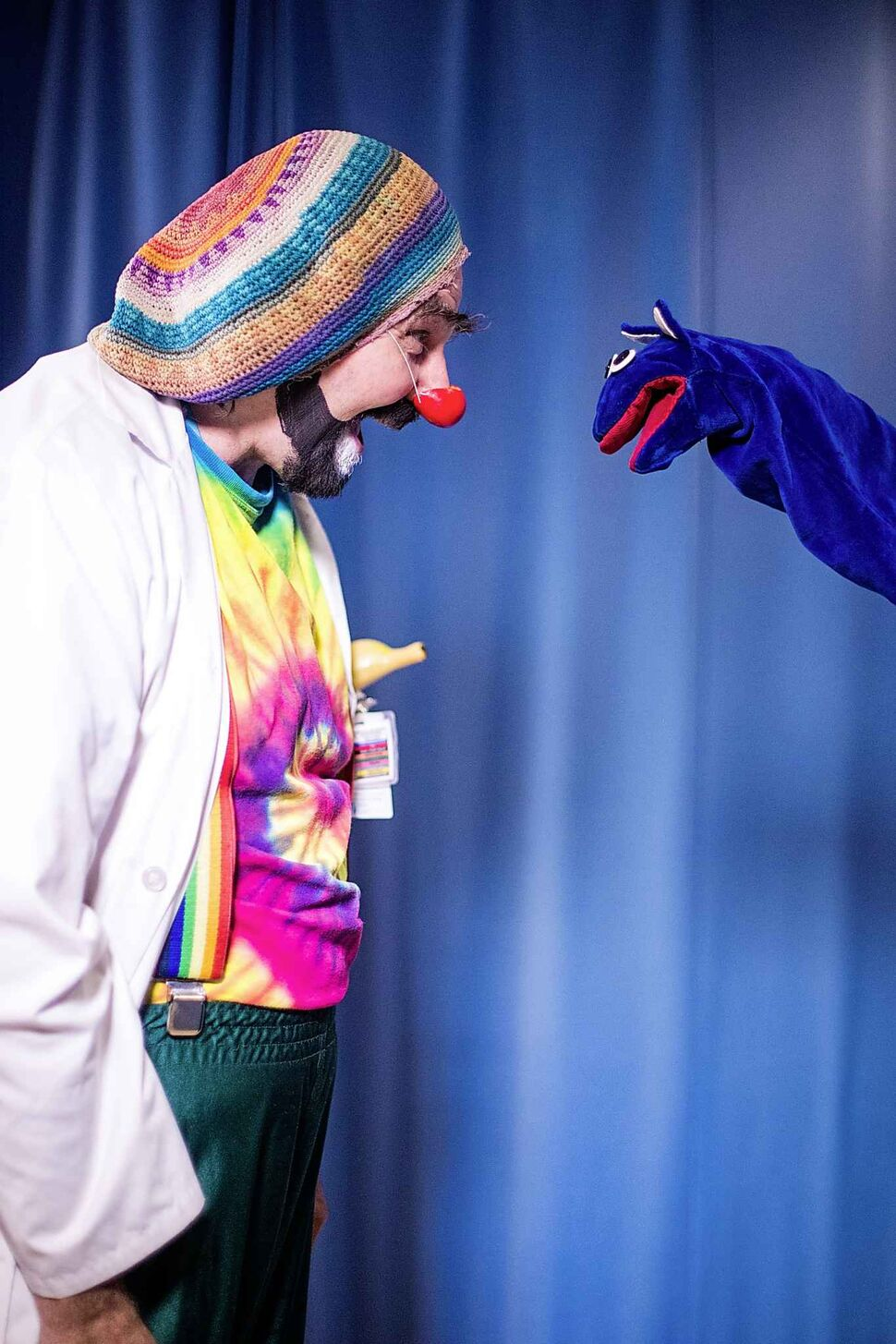 MIKAELA MACKENZIE / WINNIPEG FREE PRESS</p><p>August 8 — David Langdon, therapeutic clown, poses for portraits as Onri with puppet Noname at The Good Day Show studio at the Children's Hospital. The daily live show has been running for over 30 years exclusively for the dozens of kids staying at the facility.</p>