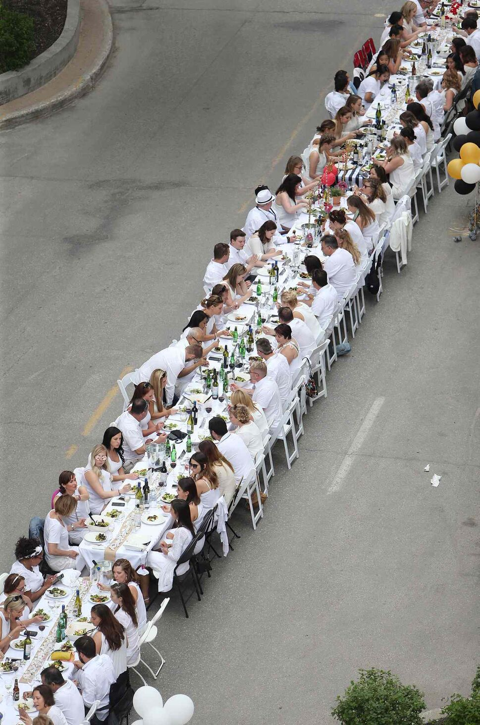 A view from above overlooking the dinner guests for Table for 1200 More.</p> (Jason Halstead)