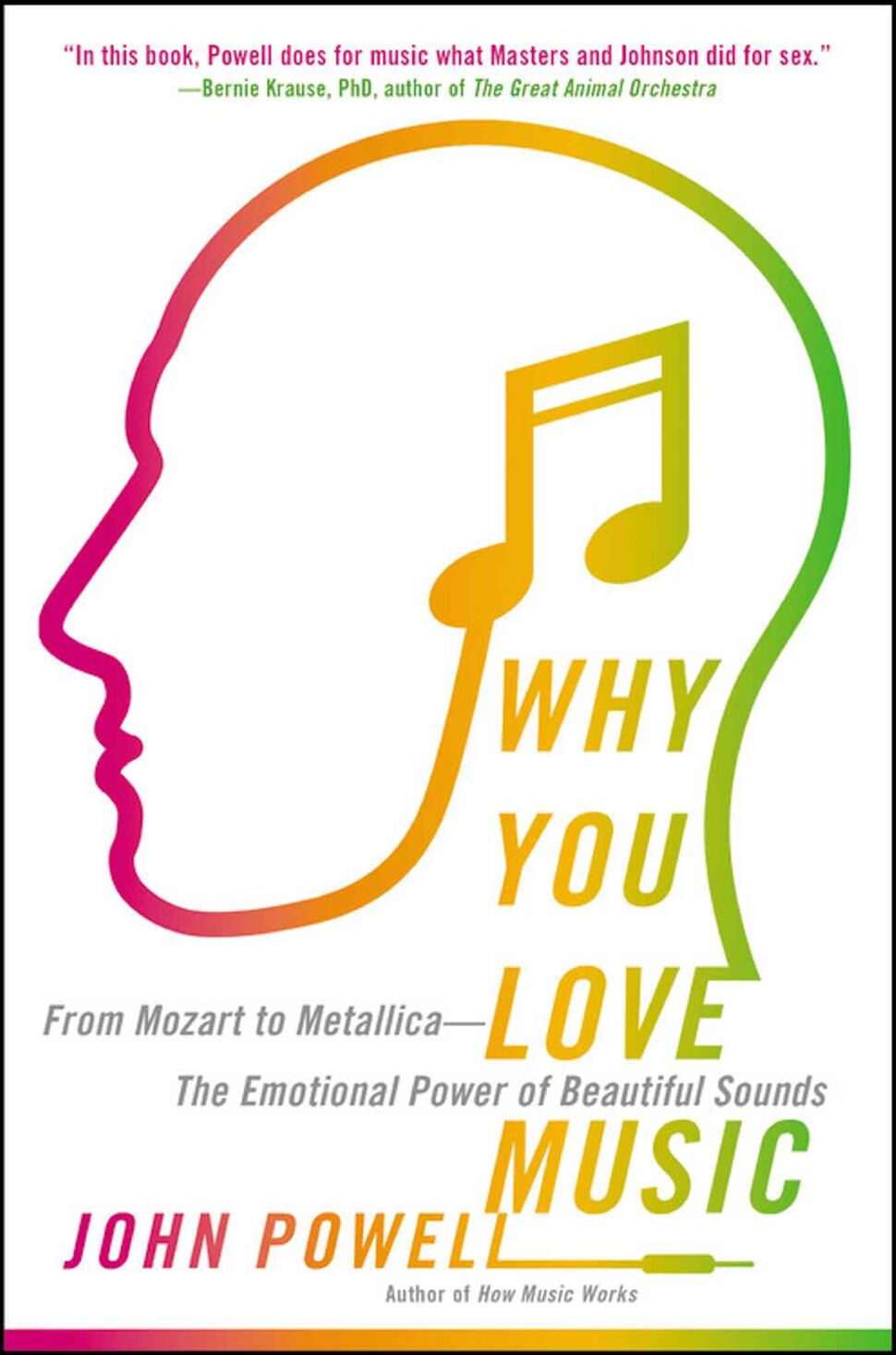 "<h3>Why You Love Music: From Mozart to Metallica — The Emotional Power of Beautiful Sounds</h3> <br/> By John Powell <br/> <strong>There is no one blueprint that will turn your music-appreciation crank, but as British scientist and musician Powell says: ""Music has the power to alleviate depression, reduced perceived pain, help you cope with various illness and disorders, reduce boredom"" and more. Furthermore, you can probably thank your mother for instilling your love of music.</strong> <br/> — Chris Smith"