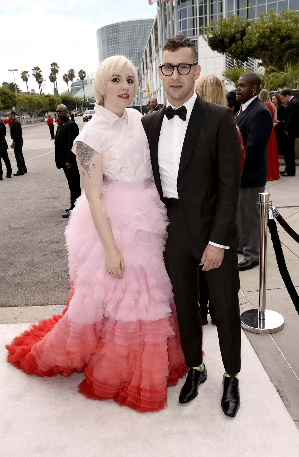 Lena Dunham (Girls), left, and Jack Antonoff arrive at the 66th Primetime Emmy Awards at the Nokia Theatre L.A. Live Monday. (Evan Agostini/Invision for the Television Academy/AP Images)