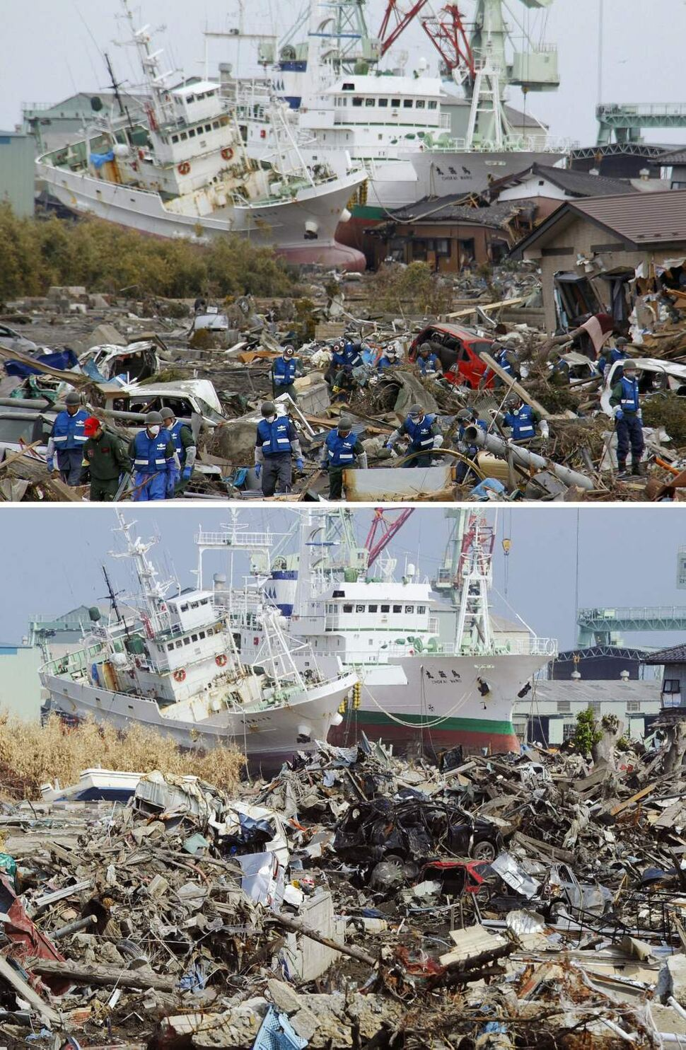 In this combo of two photos, rescue workers search for tsunami survivors amid debris as ships swept away by tsunami sit aground in a residential area March 14, 2011, top, while the ships stay in the same position in the area almost unchanged June 3, 2011 in Higashimatsushima, Miyagi Prefecture, northeastern Japan. Japan marks three month since the March 11 earthquake and tsunami Saturday, June 11, 2011. (AP Photo/Kyodo News)