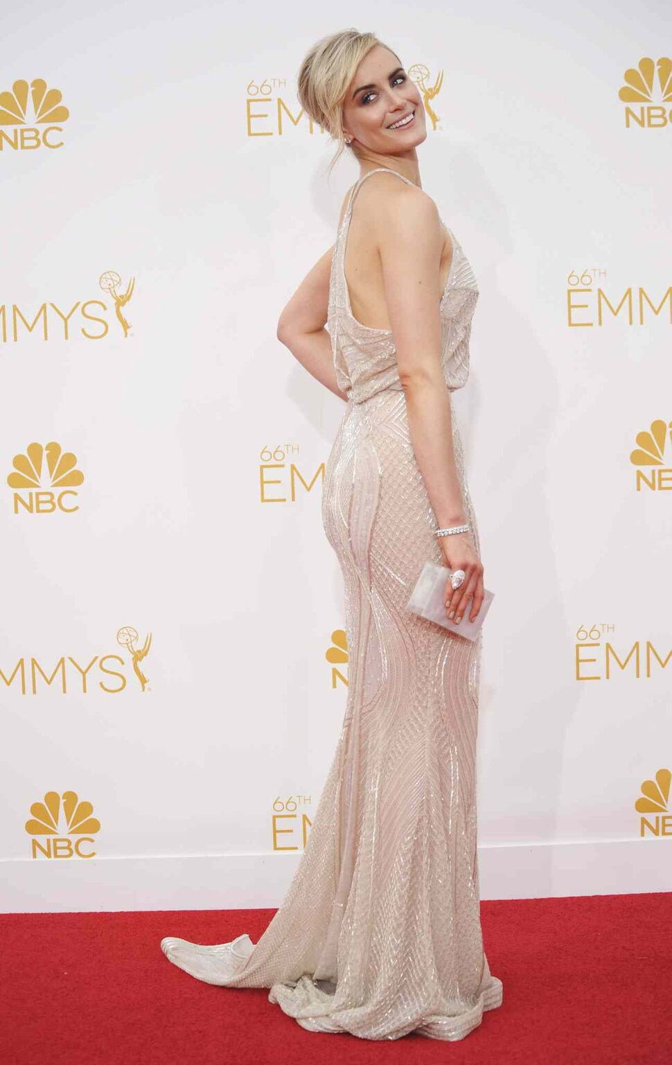 Taylor Schilling (Orange Is The New Black) arrives at the 66th Annual Primetime Emmy Awards at the Nokia Theatre L.A. Live on Monday. (Richard Shotwell/Invision/ The Associated Press)