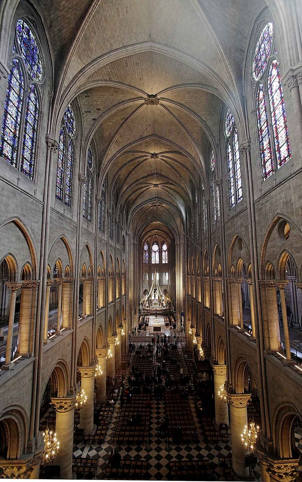 The view from the organ loft at Notre Dame cathedral in 2018, when the organ was refurbished for the cathedral's 850th anniversary. (Christophe Ena / The Associated Press files)