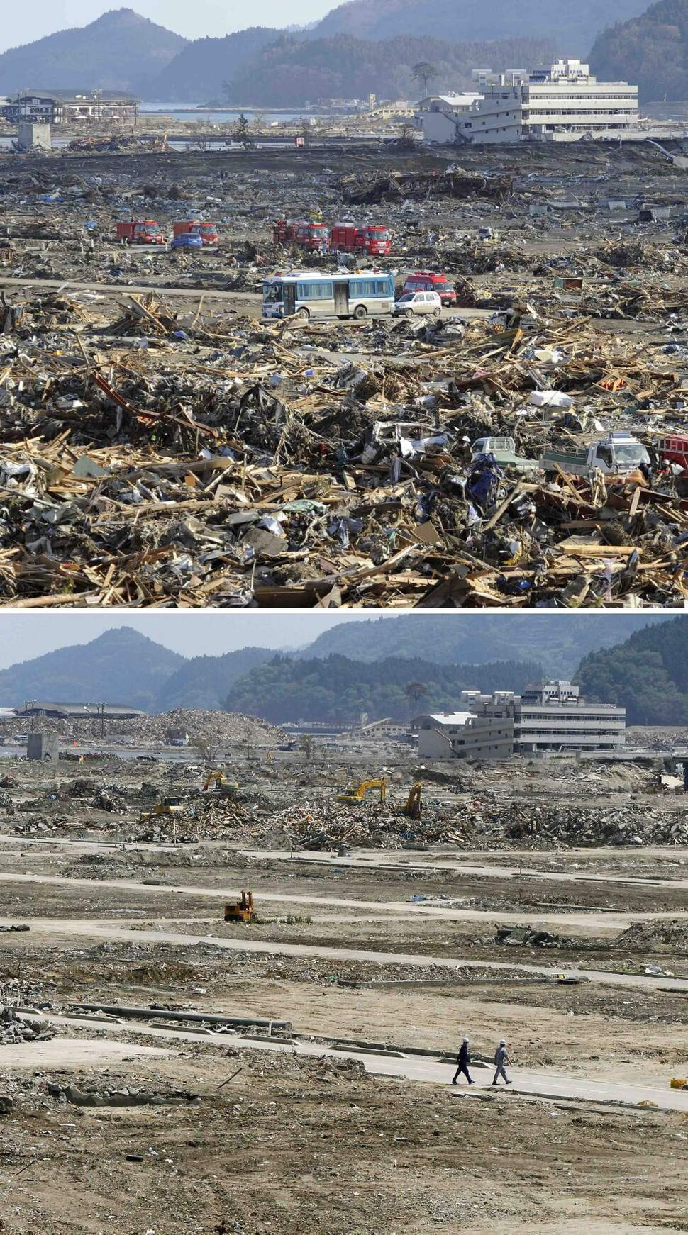 In this combo of two photos, fire engines park among the debris as a search for missing people goes on in Rikuzentakata, Iwate prefecture, northeastern Japan, on March 18, 2011, days after the devastating earthquake and tsunami hit the area, top, and the same area, bottom, with the debris almost cleared as photographed on June 6, 2011. Japan marks three months since the March 11 earthquake and tsunami that struck the nation's eastern coast on Saturday, June 11, 2011. (AP Photo/Kyodo News)