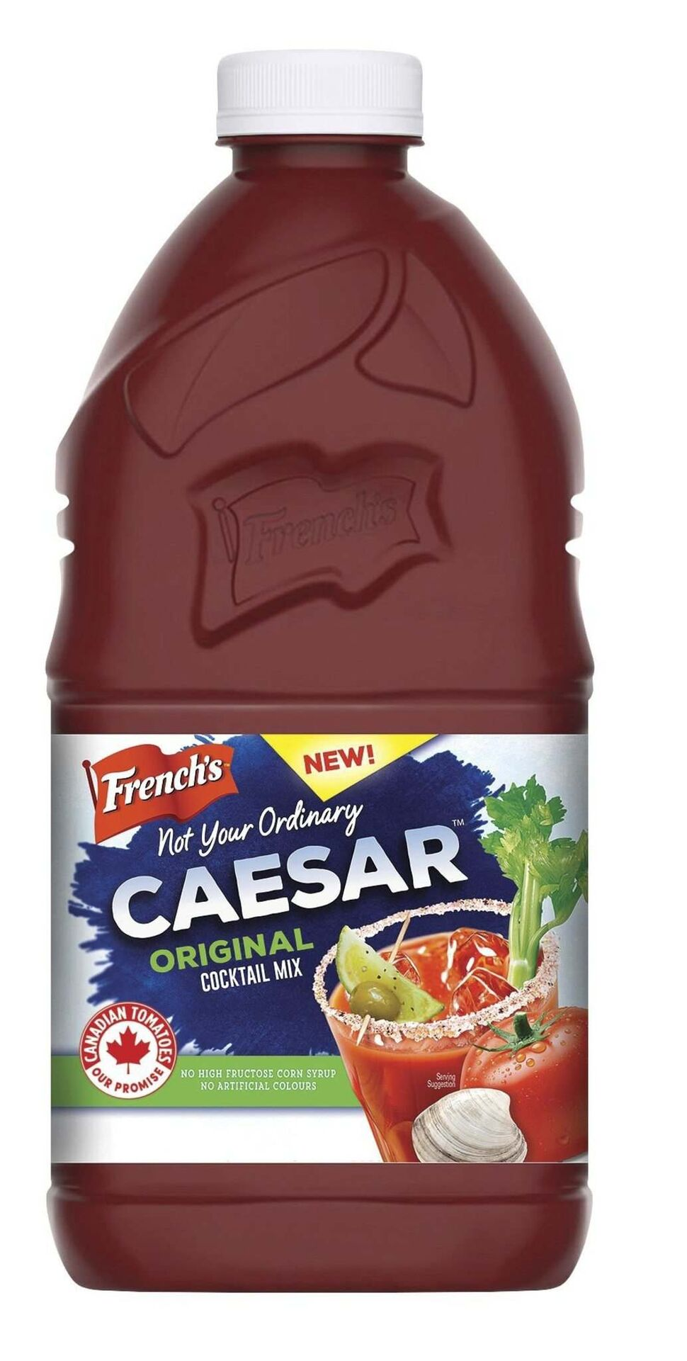 """<strong>French's Not Your Ordinary Caesar cocktail mix</strong> (around $3.49-$4.49/1.89-litre bottle)</p><p><strong>The skinny:</strong> New to the market — and, says a press release, a """"fitting tribute to Canada's 150"""" thanks to it being """"produced in Canada with 100 per cent Canadian-grown tomatoes."""" Also comes in a """"Fully Loaded"""" flavour.</p><p><strong>On its own:</strong> The French's is visibly a little thicker than the Mott's, but not nearly as dense as the Walter. Aromatically it's quite pleasant, with tomato and steak-spice notes as well as underlying bell pepper and clam notes. Ripe, almost-sweet tomato notes show nicely on the palate, with subtle celery salt, clam and pepper notes and a moderately thick texture.</p><p><strong>In a Caesar:</strong> The balance of spice and tomato flavours works well, the clam flavours are subtle and generally things are pretty savoury here.</p><p><strong>Overall impression:</strong> If you like more savoury than seafood in your Caesar, this is a nice alternative to the Mott's for the same price.</p>"""