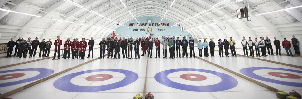 Curlers of all ages and genders form a line across the Pembina Curling Club for the opening ceremonies at the 126th Manitoba Open Bonspiel, formerly the MCA Bonspiel. January 16, 2014  (Phil Hossack / Winnipeg Free Press)