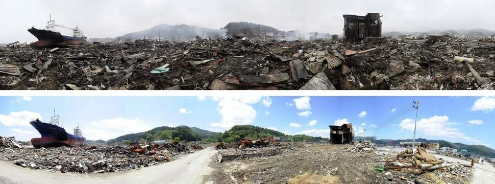 In this combo of two panoramic photos, a ship swept away by tsunami sits amid debris-covered residential area March 15, 2011, top, while the ship stays in the same position in the area almost cleaned up June 3, 2011 in Kesennuma, Miyagi Prefecture, northeastern Japan. Japan marks three month since the March 11 earthquake and tsunami Saturday, June 11, 2011. (AP Photo/Kyodo News)
