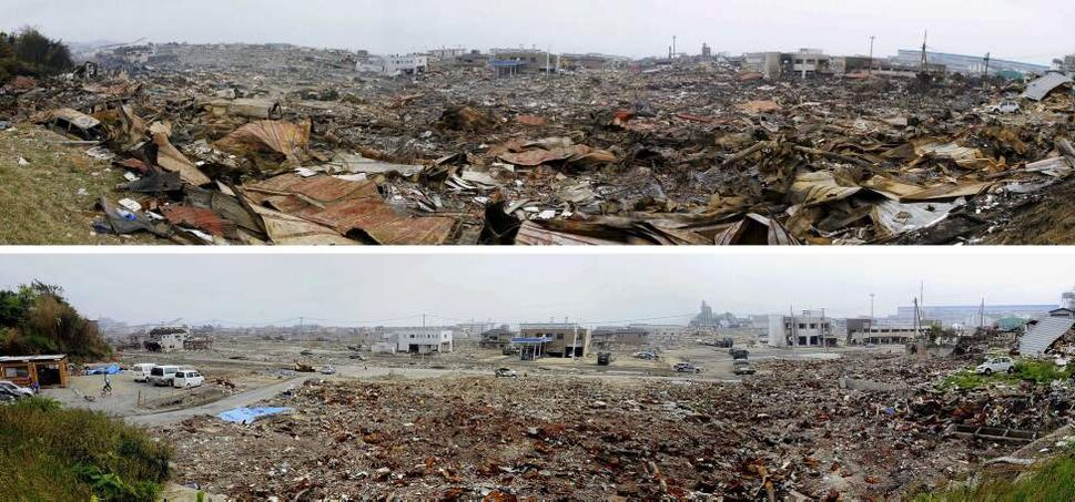 In this combo of two panoramic photos, debris of houses swept away by tsunami are left untouched March 15, 2011, top, while some buildings stand in the same area almost cleaned up June 3, 2011 in Ishinomaki, Miyagi Prefecture, northeastern Japan. Japan marks three month since the March 11 earthquake and tsunami Saturday, June 11, 2011. (AP Photo/Kyodo News)