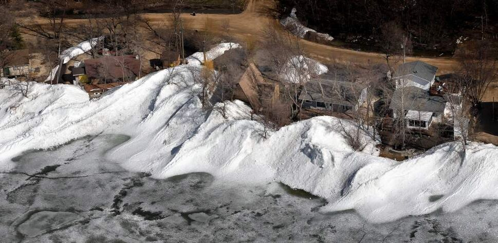 "Given enough momentum, the resulting pile can surge onto the shore. ""It's like a freight train, and you have all these cars at the back end with nowhere to go,"" said Jay Doering, a University of Manitoba civil engineering professor. ""Some have even referred to it as an ice tsunami."" (Phil Hossack / Winnipeg Free Press)"