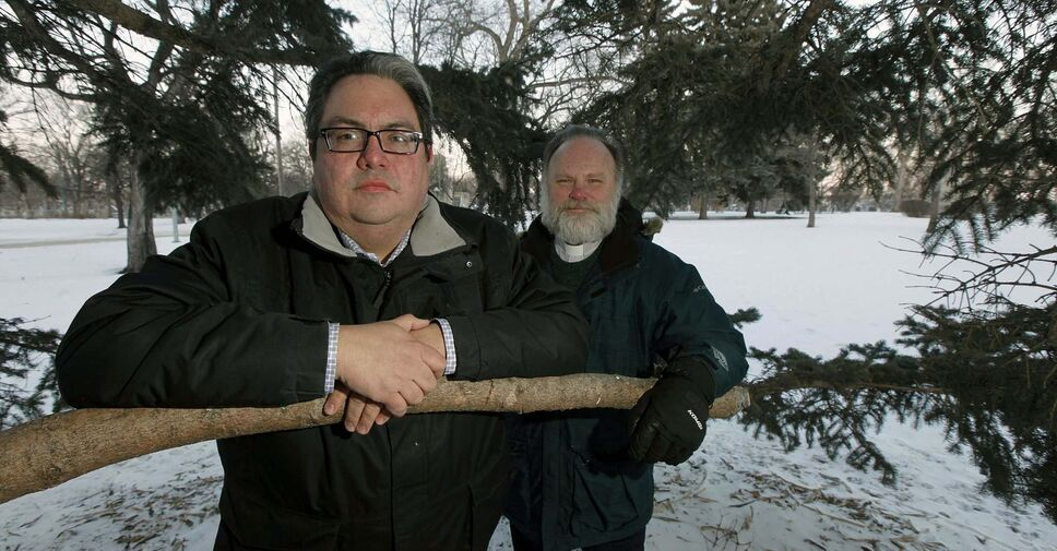 Kyle Mason (left) and Very Reverend Paul Johnson at St. John's Park, where Canada's second-ever Healing Forest will see its first phase at the site finished in the summer. (PHIL HOSSACK / Winnipeg Free Press)