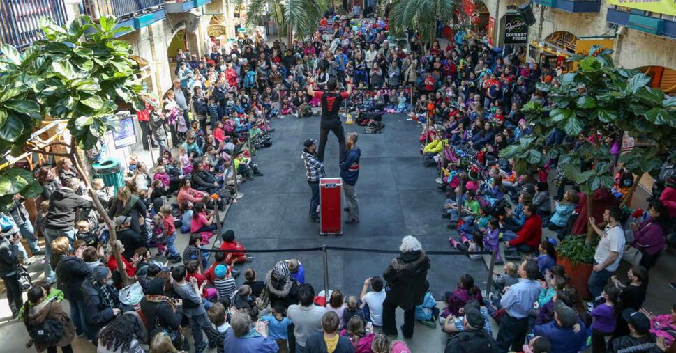 A daring performance at the 14th annual Festival of Fools at the Forks in Winnipeg on Tuesday. The free festival of foolishness runs Saturday, March 29 to Sunday, April 6.  (Crystal Schick / Winnipeg Free Press)
