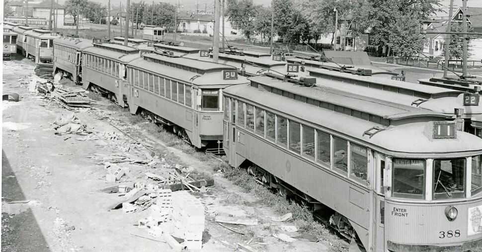 WINNIPEG FREE PRESS FILES Image published Sept. 17, 1955. Published caption: The bells on the streetcars  will ring out the old and ring in the new this weekend. They'll be riding the rails for the last time at a special ceremony on Monday. The tired old trams will fold up their trolleys early Sunday morning and noisily steal away to the darkened north Winnipeg car yard.