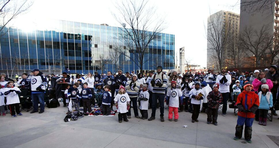 PHIL HOSSACK / WINNIPEG FREE PRESS -The Winnipeg Jet&#39;s youngest fans enjoyed their own party space Friday evening in the Millenium Library&#39;s courtyard. Stand-Up - April 13, 2018</p>