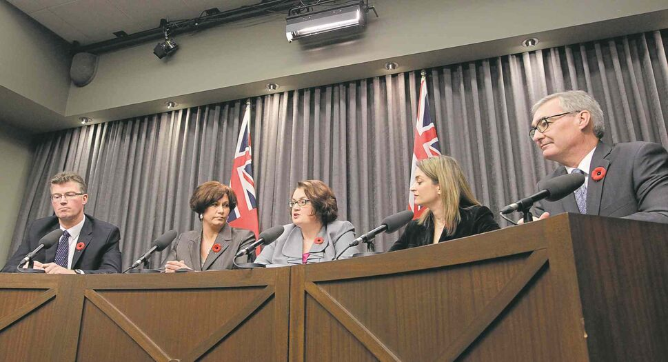 Dissident MLAs (from left) Andrew Swan, Theresa Oswald, Jennifer Howard, Erin Selby and Stan Struthers